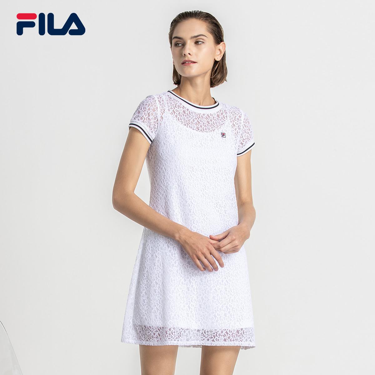 FILA斐乐女连衣裙2018秋季新品运动时尚优雅透气舒适连衣裙女上衣