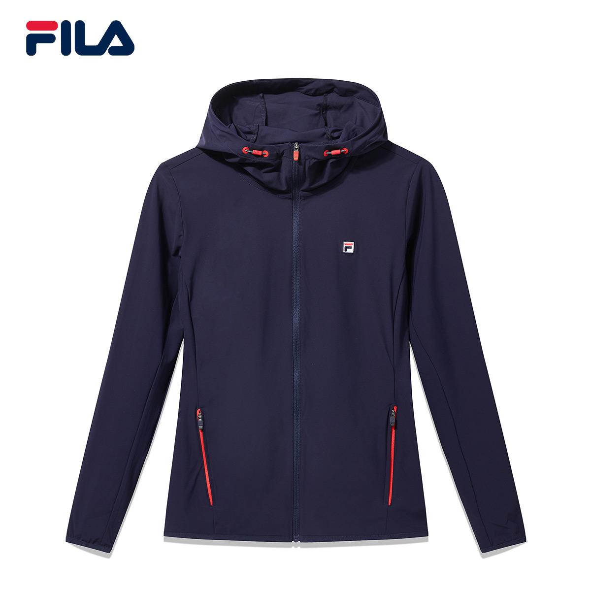 FILA斐乐网球女外套2018秋季新品针织防风运动休闲外套连帽外套女