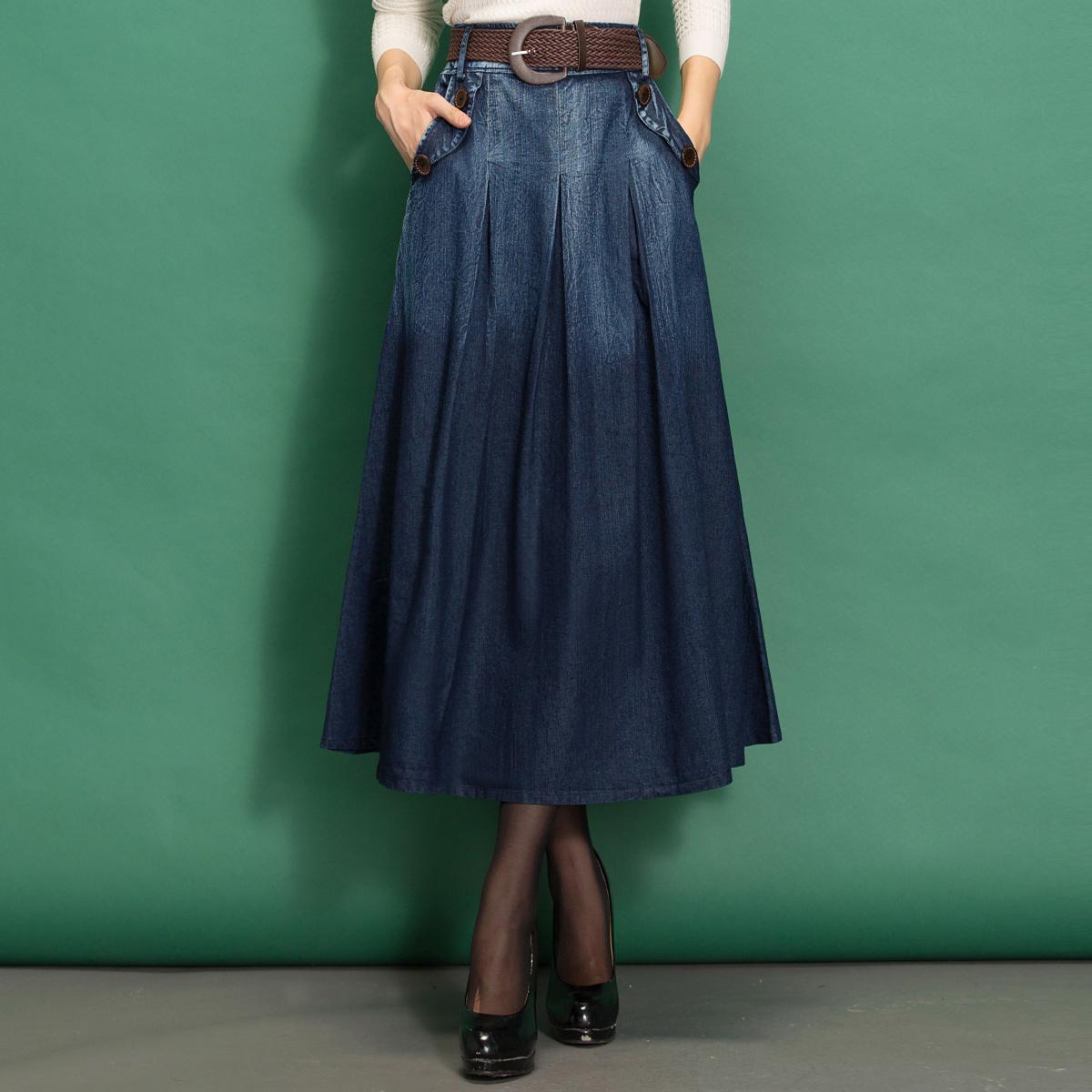 中长款牛仔半身裙女夏秋牛仔裙高腰a字半裙长款大码裙子夏季长裙
