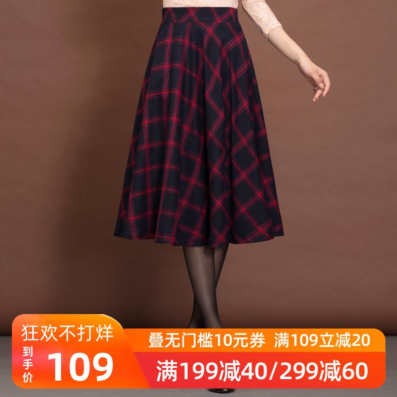 格子半身裙秋冬a型裙子半身长裙高腰复古显瘦中长款a字裙半裙冬裙