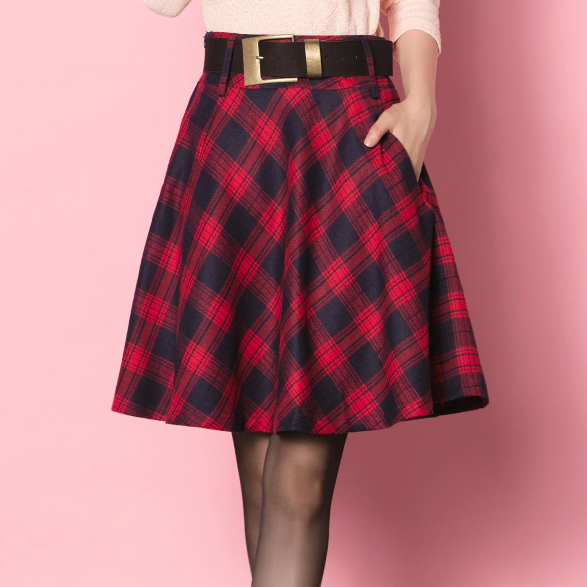 格子半身裙秋季韩版打底裙红色短款a字裙显瘦学生短裙女秋冬半裙