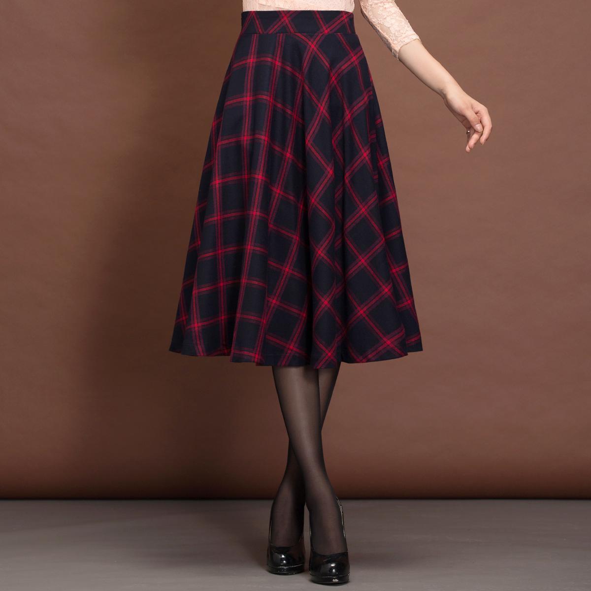 格子半身裙女春秋a型裙子半身长裙高腰复古显瘦中长款a字半裙秋装