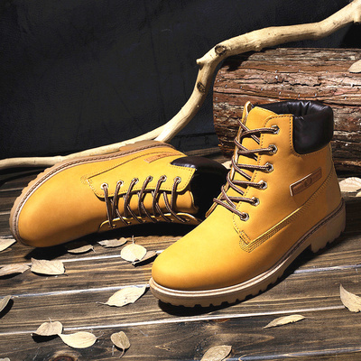 Autumn and winter lovers Martin boots men British men's boots yellow boots tooling military boots boots desert boots men's shoes rhubarb boots