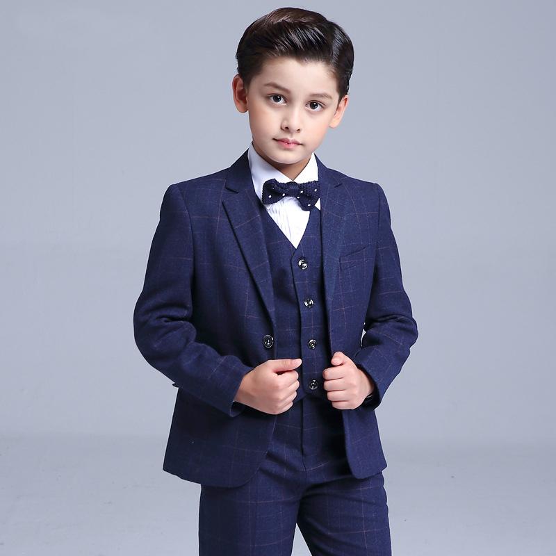 韩版男童西服 儿童小西装套装外套中大童花童男孩主持人礼服秋款_7折