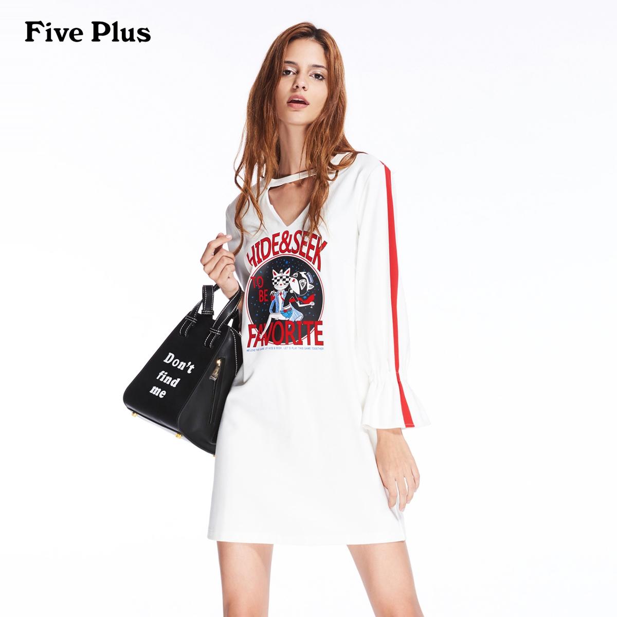 Five Plus2018新款女装喇叭袖连衣裙宽松印花镂空卫衣款短裙潮