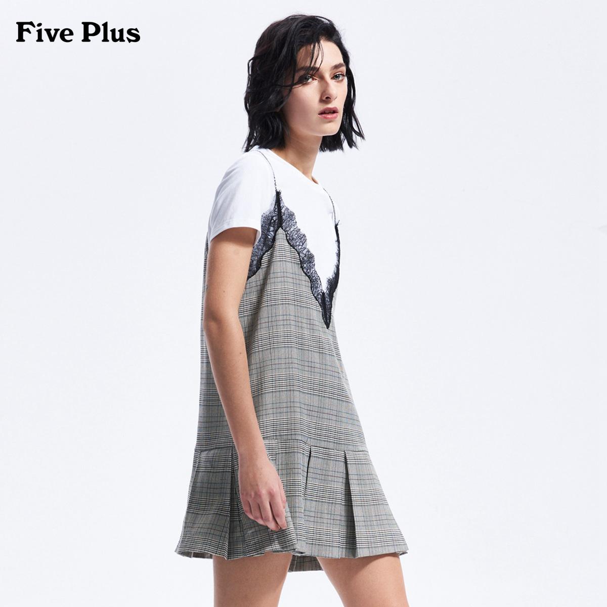 Five Plus2018新品女夏装吊带连衣裙格子百褶裙宽松无袖两件套装