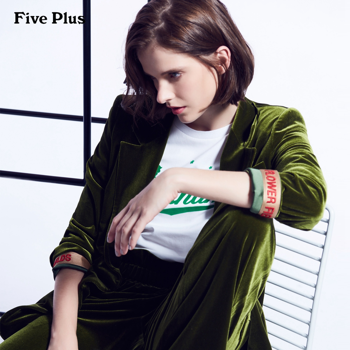 Five Plus2018新款女装VAVA明星同款丝绒西装外套女中长款宽松