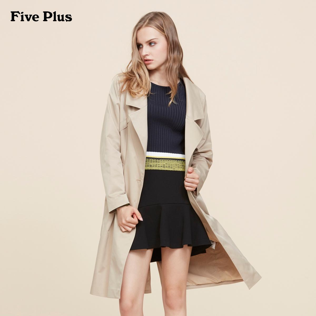 Five Plus新女装潮刺绣字母宽松长款西装领风衣外套2JM1052490