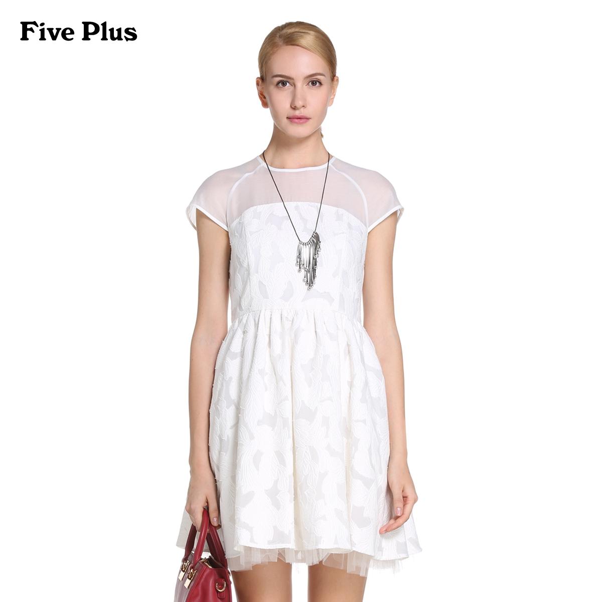 Five Plus新女装雪纺拼接透视圆领短袖高腰连衣裙2HL3080210