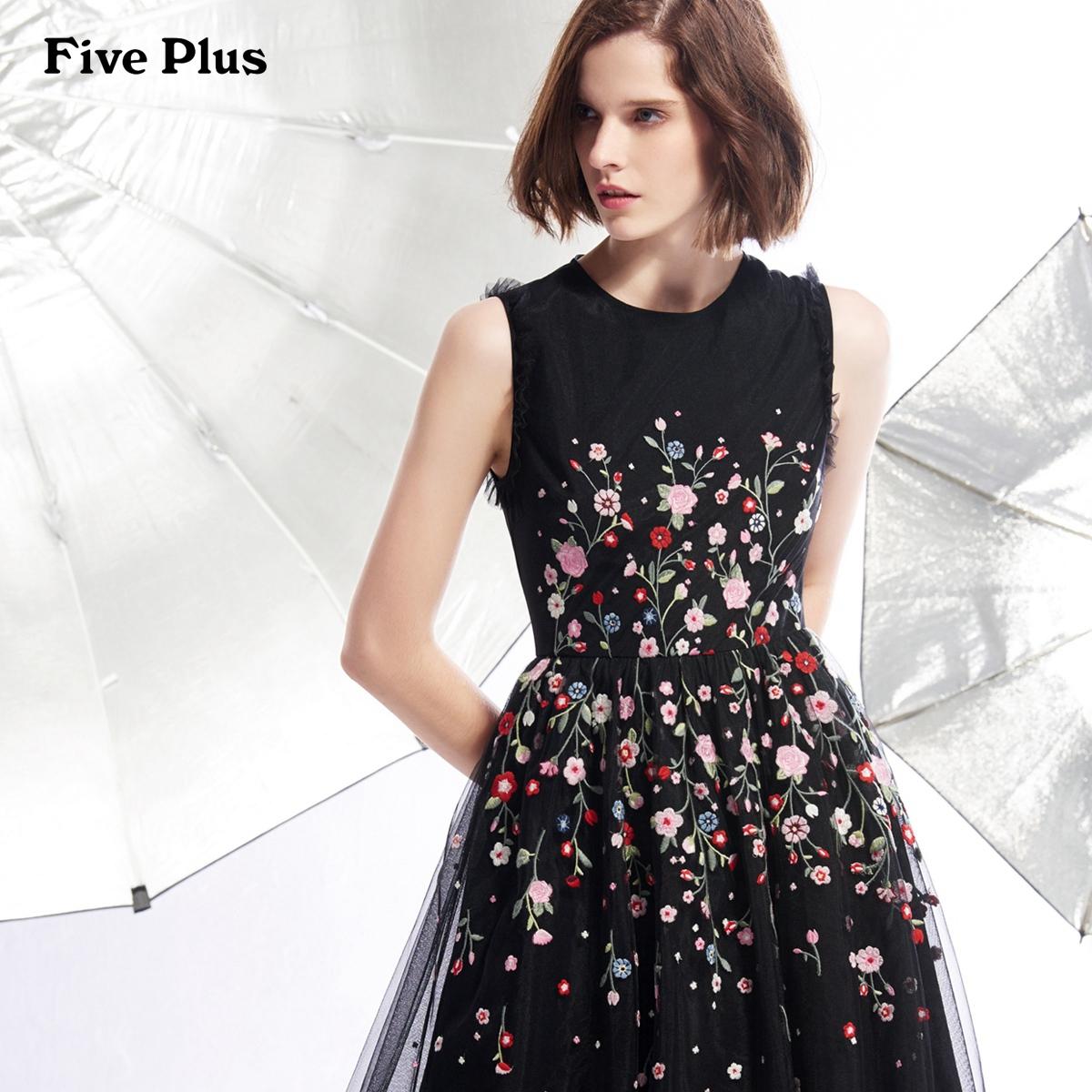 Five Plus女冬装连衣裙女中长款纱裙无袖黑色小礼服商场同款