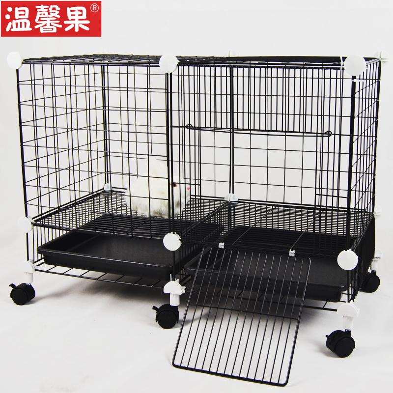 狗笼子小型犬猫咪笼双层兔笼别墅三层宠物围栏泰迪铁笼带厕所轮子