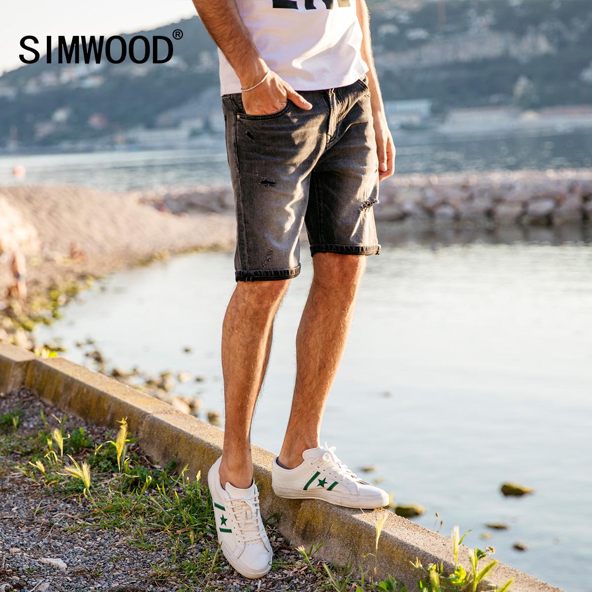 Simwood简木男装2018夏季亚博线上开户休闲破洞修身微弹五分牛仔短裤男潮