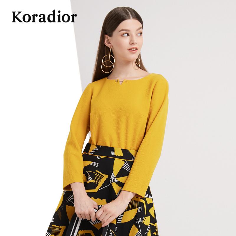 Koradior-珂莱蒂尔品牌女装2018秋装新款时尚修身套头衫百搭上衣