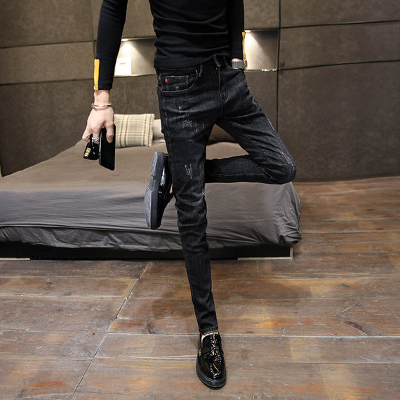 Zhenxuan Yige 2019 New Winter Winter Korean Simple Fashion Slim Black Trend Jeans 남성