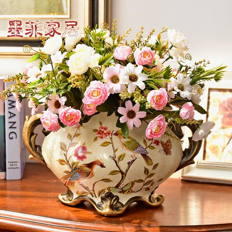 墨菲欧式美式复古陶瓷花瓶摆件客厅创意家居干花束仿真花艺插花器