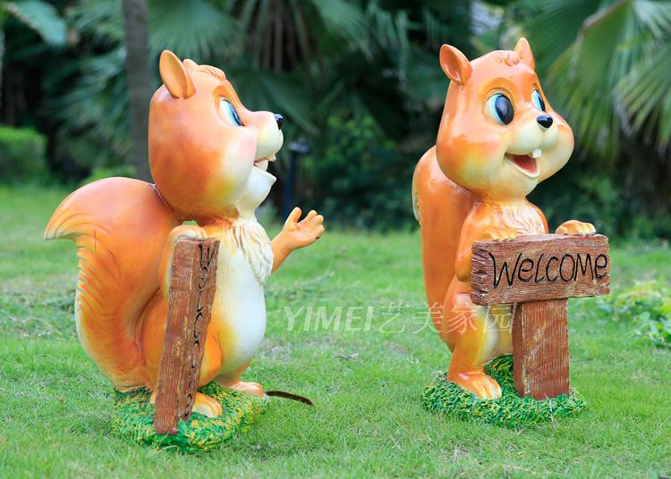 花园园林动物雕塑玻璃钢卡通松鼠摆件工艺品幼儿园装饰品welcome