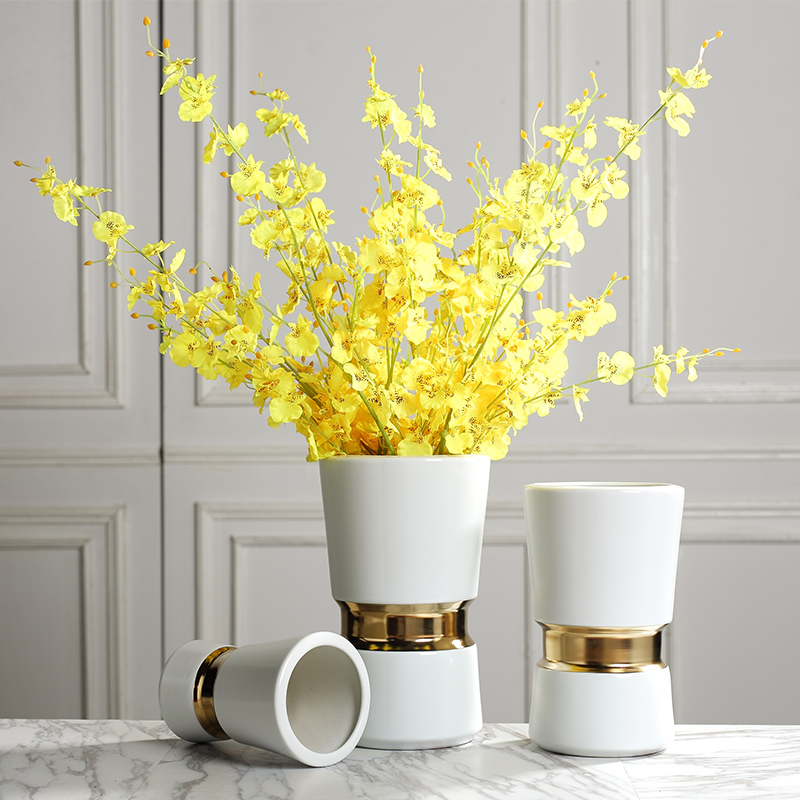 Modern light key-2 luxury household ceramic vase sample room soft adornment Nordic dried flowers, flower arranging flowers, furnishing articles soft outfit