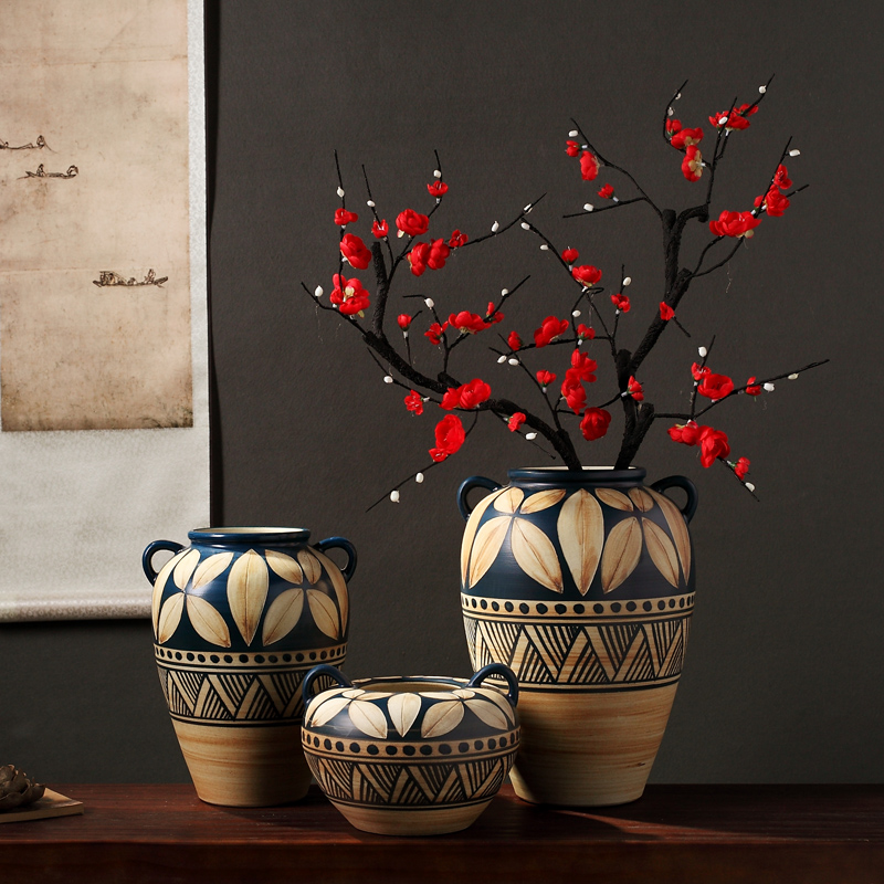 Composed of ancient earthenware jar are dried flower flower implement the original ceramic coarse pottery flowerpot vase do old zen simple furnishing articles