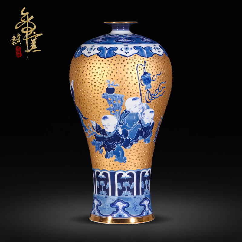 The Spring of jingdezhen ceramics craft gold blue boy make vases, I and contracted sitting room adornment is placed the process