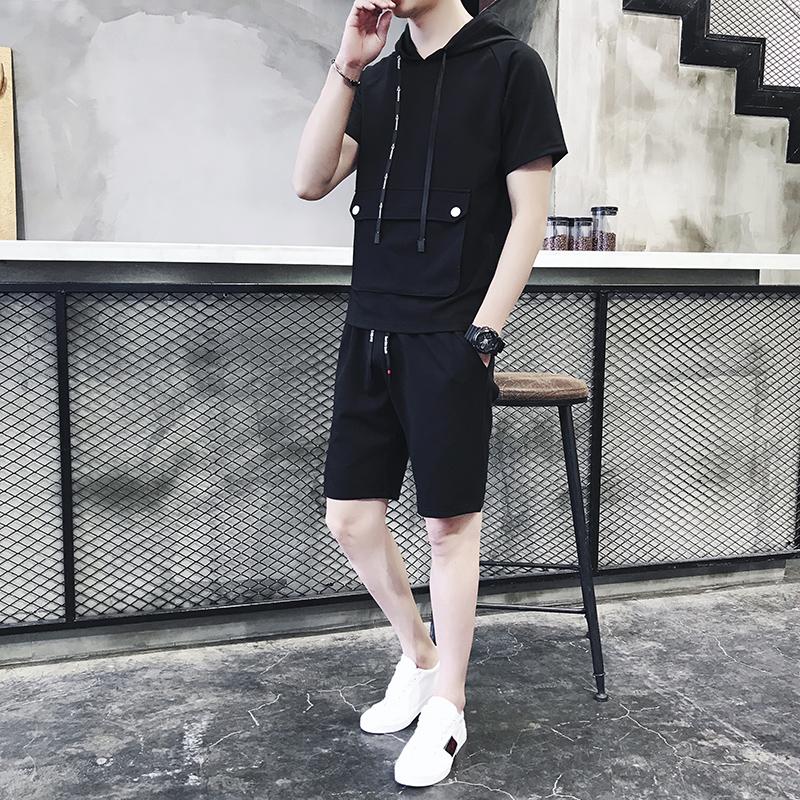 男士夏季休闲运动套装2018新款帅气五分裤韩版潮流短袖短裤两件套
