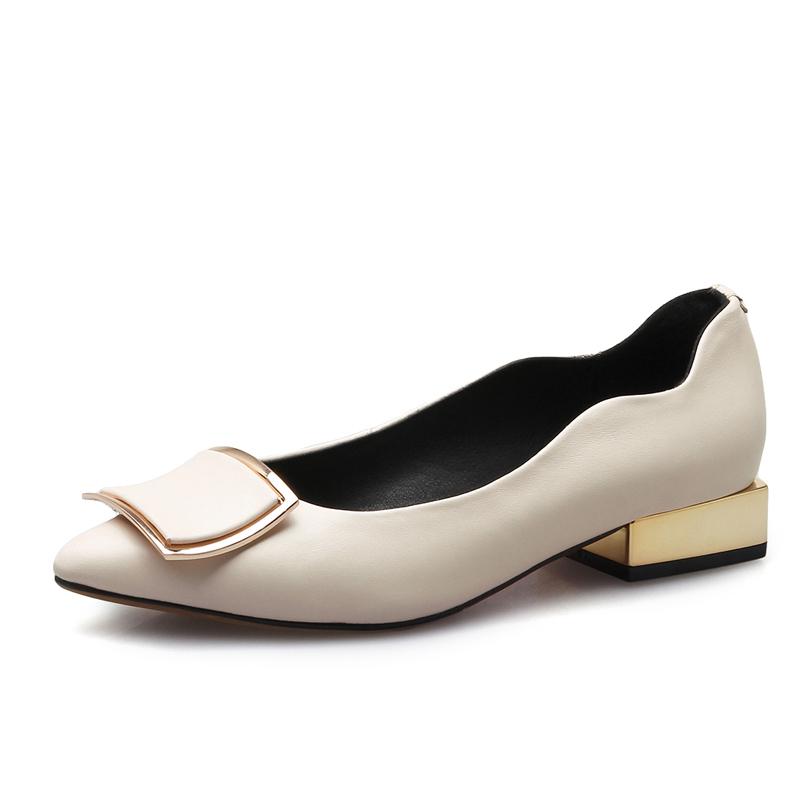 春秋新款真皮女单鞋低跟粗跟尖头女鞋小码31 32 33大码41 42 43