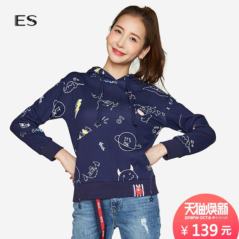 艾格ES学院风休闲可爱卡通字母印花长袖连帽卫衣女8A0328059