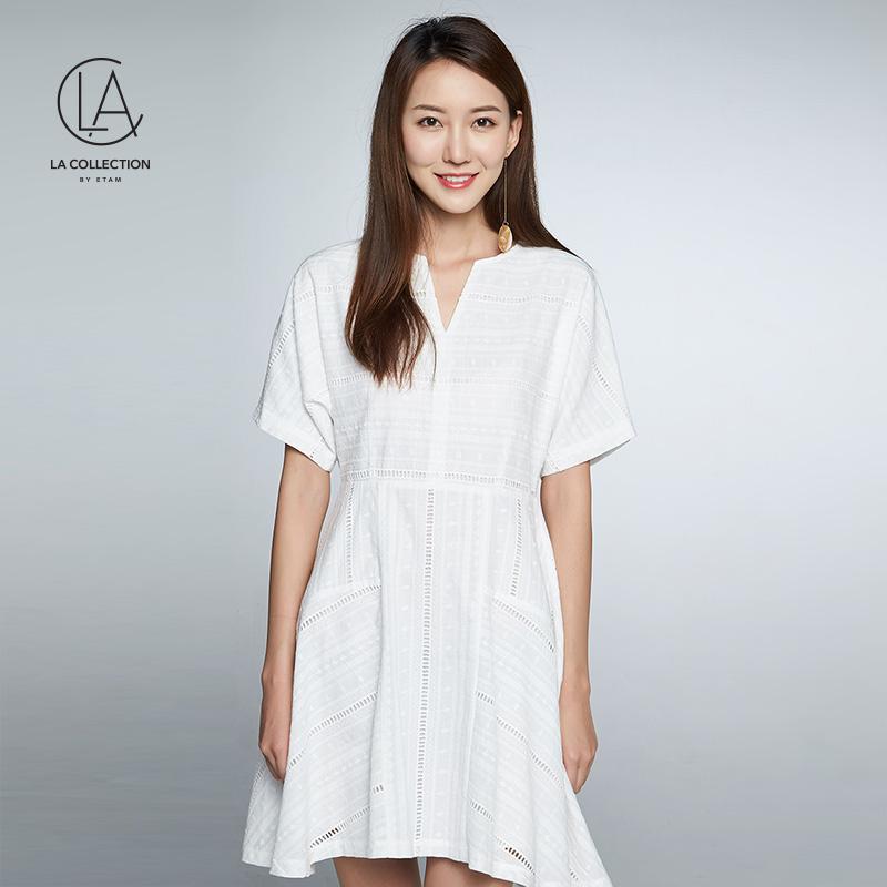 艾格LA2018夏季纯色V领短袖连衣裙8E012211686