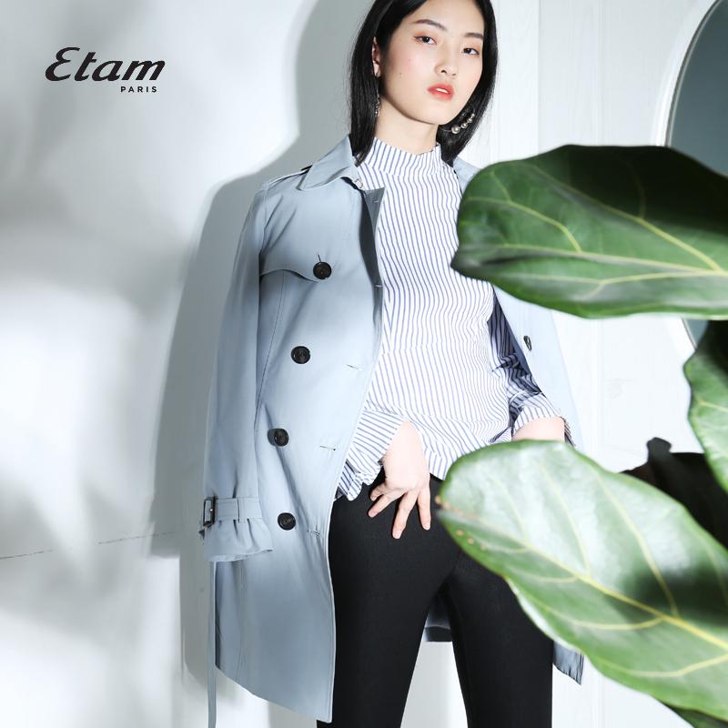 艾格Etam双排扣系带中长款风衣外套女8E013403447