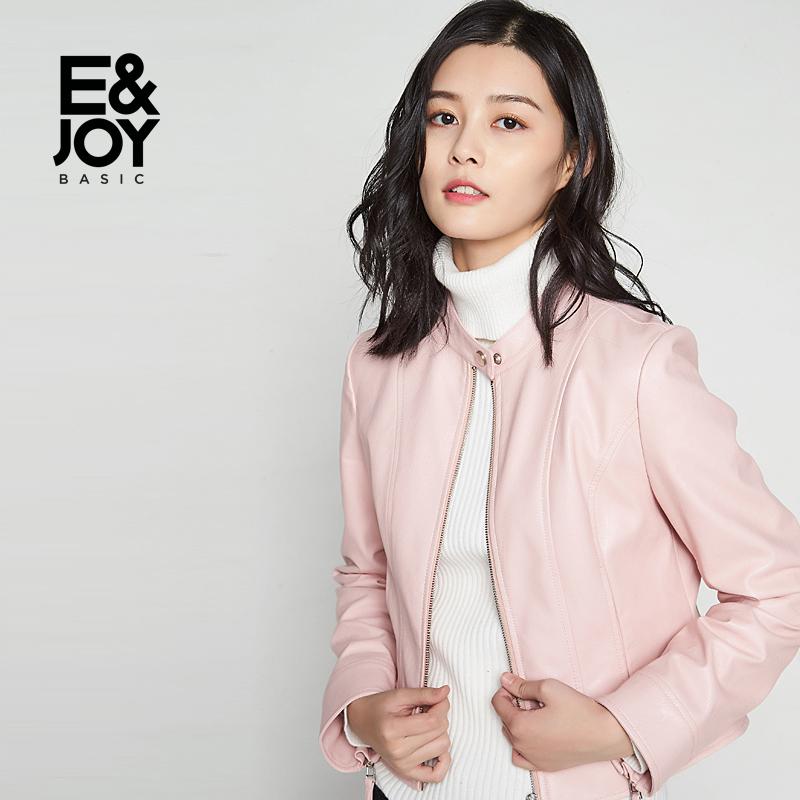 艾格Etam basic帅气纯色短款皮质长袖夹克外套女8E2021002