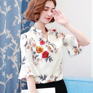 印花衬衫女短袖2018夏装韩版女士大码宽松雪纺上衣喇叭半袖小衫潮