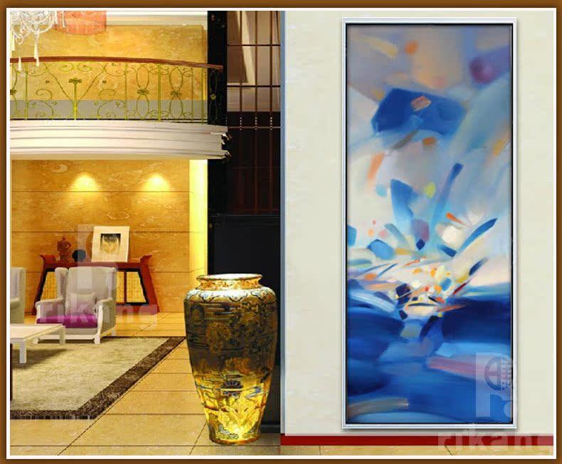 日康 抽象油画 纯手绘欧式现代走廊过道酒店别墅挂画 玄关装饰画
