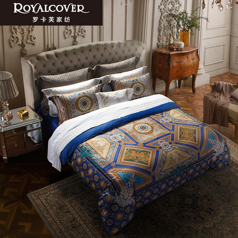 ROYALCOVER-罗卡芙家纺欧式80s全棉数码独幅印花四件套 帕里西奥