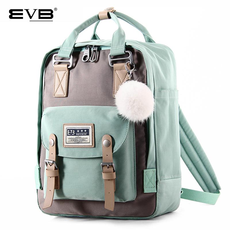 EVB双肩包女韩版帆布少女心甜甜圈背包初中大学高书包中学生旅行