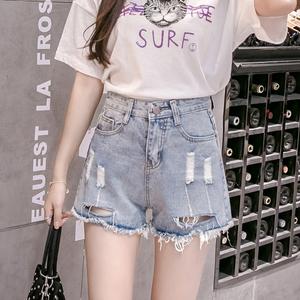 实拍高腰牛仔短裤女学生韩版水洗磨破浅蓝色百搭2018夏季新款热裤