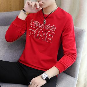 秋季男士长袖T恤韩版刺绣圆领打底衫学生卫衣秋衣套头衣服潮体恤