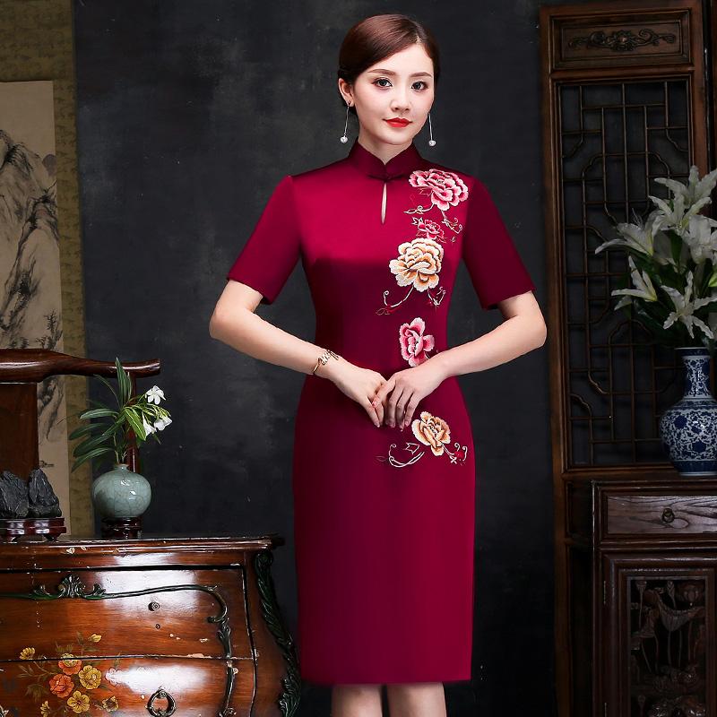 老上海妈妈装旗袍裙真丝刺绣中长款女2018夏季新款丈母娘结婚礼服