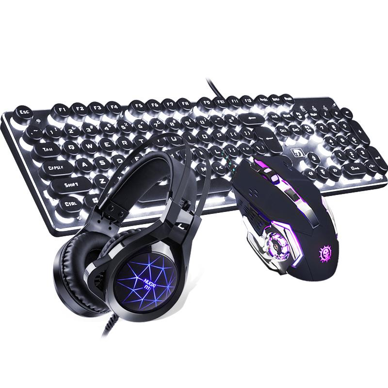 真机械手感蒸汽朋克复古键盘鼠标耳机三件套装笔记本台式电脑有线背光发光电竞游戏吃鸡键鼠外设网吧网咖家用