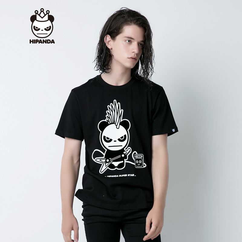 HIPANDA 你好熊猫 设计潮牌 新品 男款 朋克熊猫吉他T恤