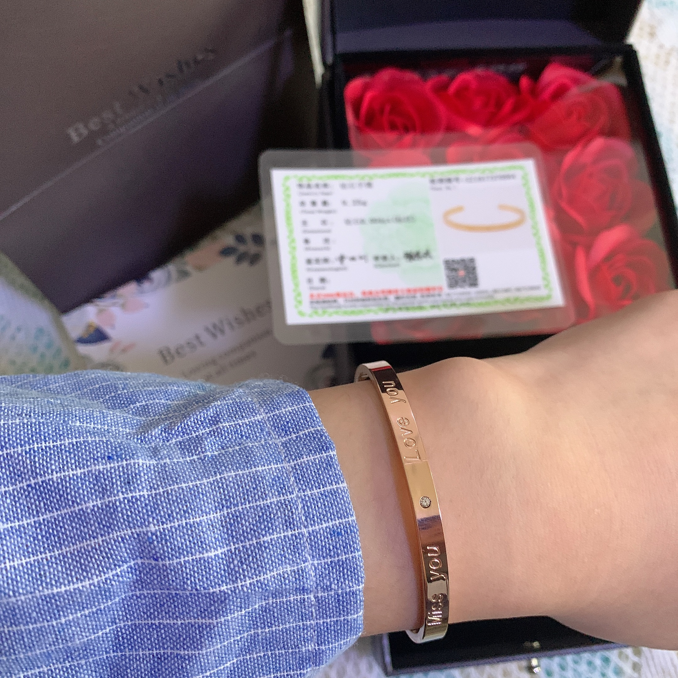 馨瑶国际新款钻石手镯玫瑰金色时尚手镯简约手链手饰男女情侣手镯
