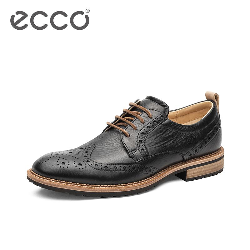 ECCO爱步复古新款商务男鞋 精致雕花系带布洛克鞋 唯途 I 640354