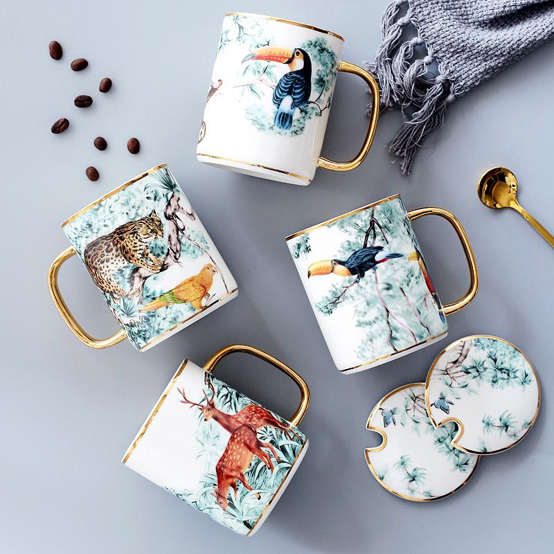 创意金把动物英伦陶瓷马克杯水杯ins北欧下午茶杯子咖啡杯带盖勺