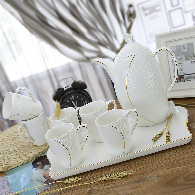 陶瓷水具套装 套装竞技宝app苹果官方下载 家用水杯套装冷水壶茶杯凉水壶杯子带茶盘