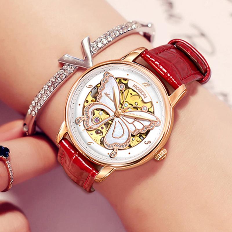 劳士顿手表女时尚潮流女表自动机械表2018新款真钢带皮带女士手表