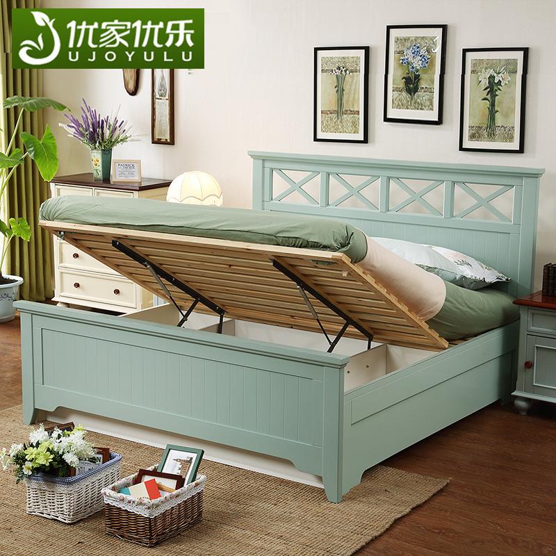 美式实木床双人1.8米现代简约高箱储物床1.5次卧成人女孩卧室家具