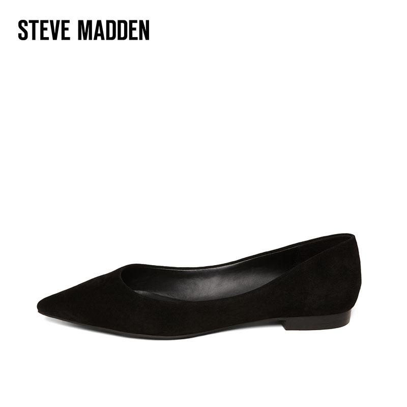 Steve Madden-思美登2018新款女鞋尖头方跟单鞋浅口平底鞋OTISLY