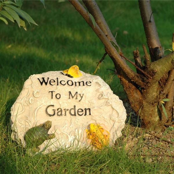 庭院小品假山欢迎牌门牌 花园庭院装饰摆件创意工艺品树脂雕塑