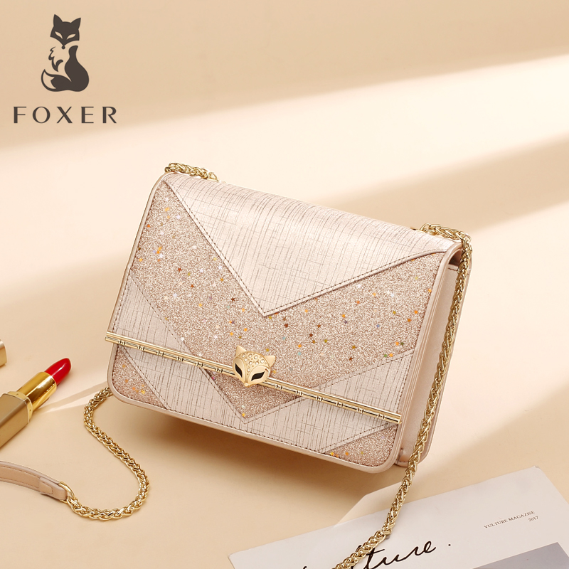 Gold Fox 2019 star Sky bag female 2018 New casual simple wild leather shoulder messenger bag chain bag
