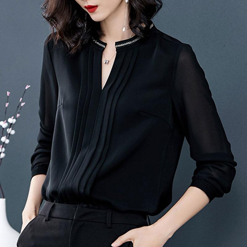 时尚气质雪纺衫女上衣刺绣V领小衫2018秋季新款黑色女装打底衫秋