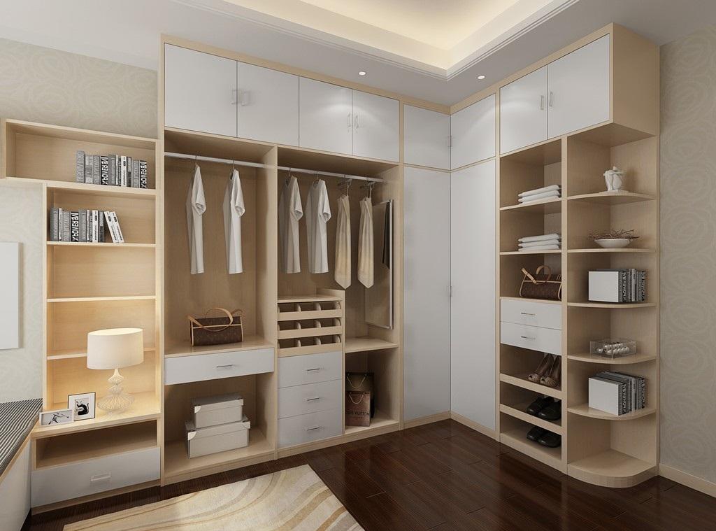 在卧室里利用拐角空间,顺势做一个l型大衣柜,收纳空间超大,空间利用率图片