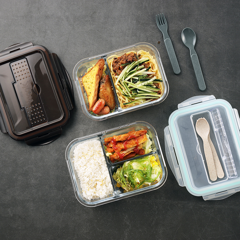 Glass Lunch Box Separated Fresh Keeping Box Microwave Friendly Food Container 694036